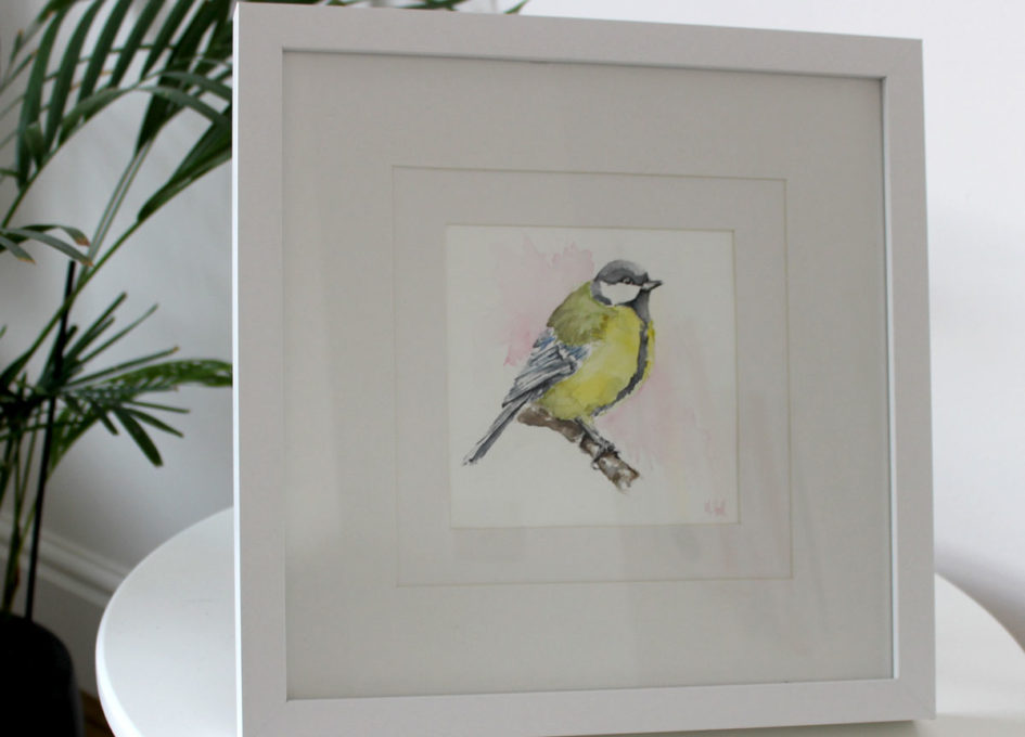 framed great tit watercolour by Annie Hall