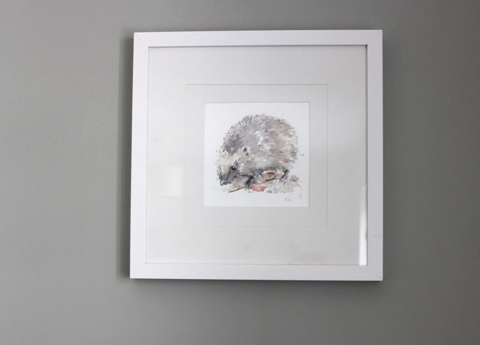 Framed hedgehog watercolour hanging on wall