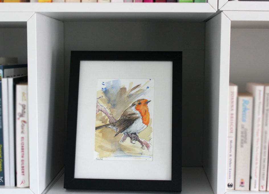 Framed pen and wash robin by Annie Hall